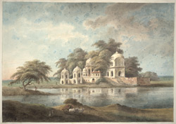 Another similar temple seen from across a lake at Bawani